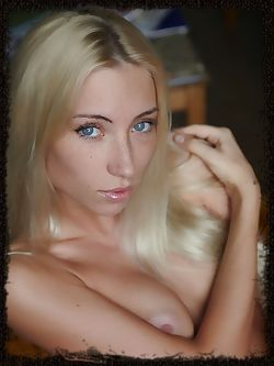 Stunningly naked and sultry Adele B with hypnotizing blue eyes, perfectly sun-kissed complexion, and well-toned assets.