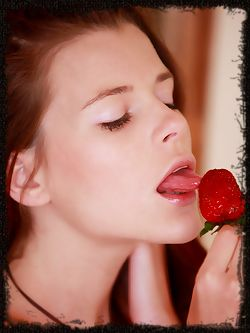 Valeria A enjoys strawberries and shows off her hot body...