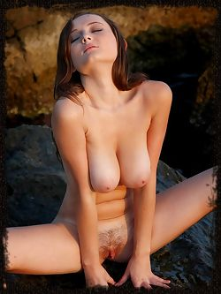 Amateur model with large breasts and nice bush goes outside...