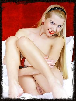 Daring blonde with creamy white complexion, petite body,...