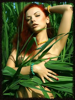 Lusty and erotic redhead in daring and arousing poses....