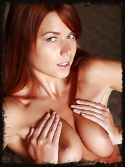 New model with Long red hair with wide hips a trimmed bush...