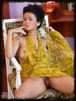 Seductive, elegant appeal with slender yet gorgeous body with magnificent puffy nipples and sexy legs, Pammie Lee makes provides a lot to fantasize about as she strips her hot yellow dress for this sizzling series.