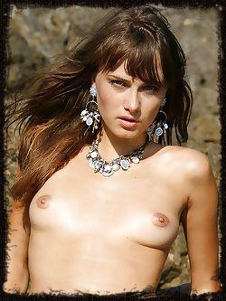 This mermaid has wavy brown hair small perky breasts and a...